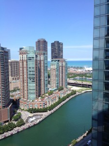 The view out our hotel room of the Navy Pier and Lake Michigan