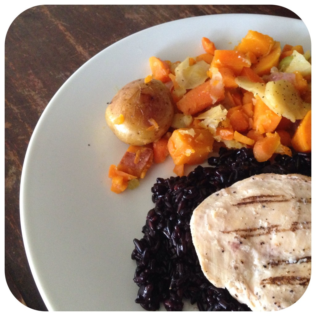 Ad Sweet Potato Hash With Grilled Chicken And Black Rice Pilaf Gluten Free Recipes